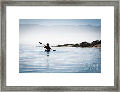 Silhouetted Kayaker In Morro Bay Framed Print by Bill Brennan - Printscapes