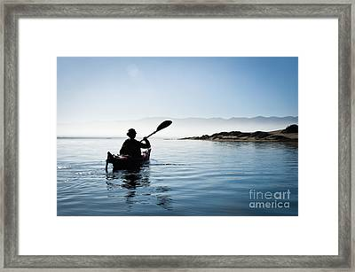 Silhouetted Morro Bay Kayaker Framed Print by Bill Brennan - Printscapes