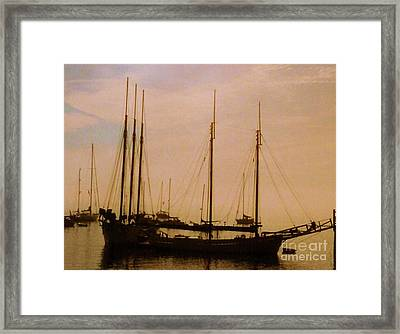 Silhouetted Sailboats Framed Print by Desiree Paquette