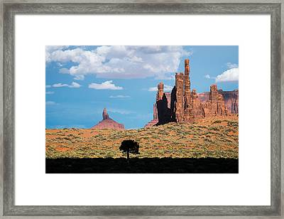 Silhouetted Tree At Monument Valley Framed Print