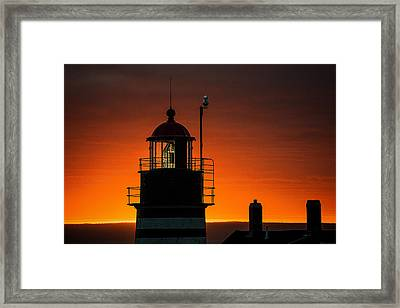 Silhouetted West Quoddy Head Lighthouse Framed Print by Marty Saccone