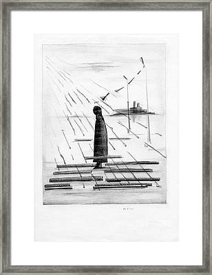 Silhouettes Of Human And Birds. Framed Print