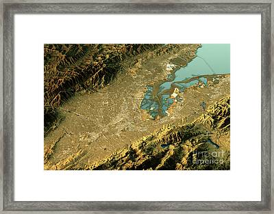 Silicon Valley 3d Landscape View East-west Natural Color Framed Print