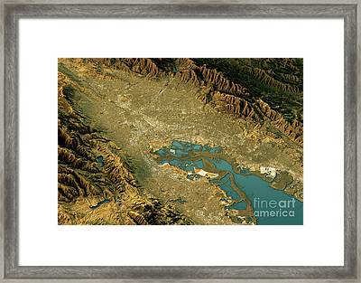 Silicon Valley 3d Landscape View North-south Natural Color Framed Print
