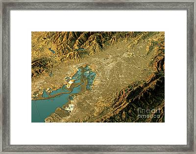Silicon Valley 3d Landscape View West-east Natural Color Framed Print by Frank Ramspott