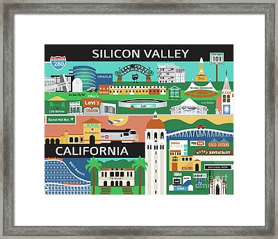 Silicon Valley California Horizontal Scene - Collage Framed Print by Karen Young