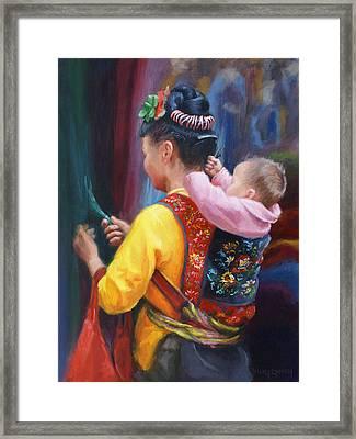 Silk Appraisers Framed Print by Vicky Gooch
