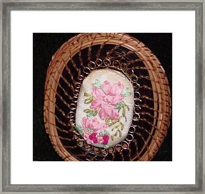 Silk Embroidery Pine Needle Jewelry Box Framed Print