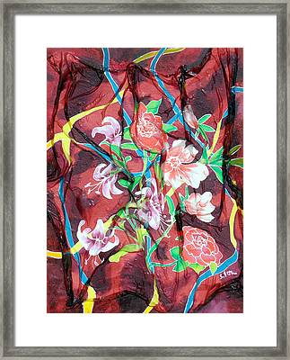 Silk Floral Ribbon Framed Print