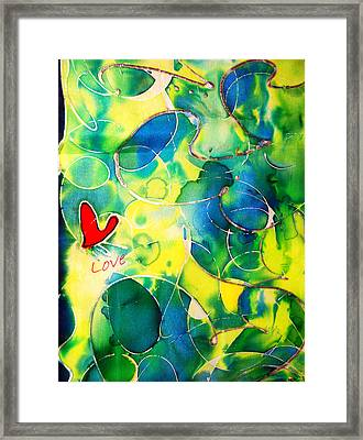 Silk Painting With A Heart  Framed Print