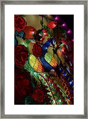 Silk Peacocks Framed Print