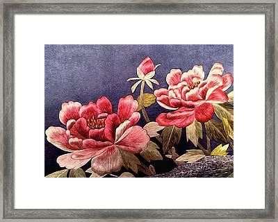 Silk Peonies - Kimono Series Framed Print