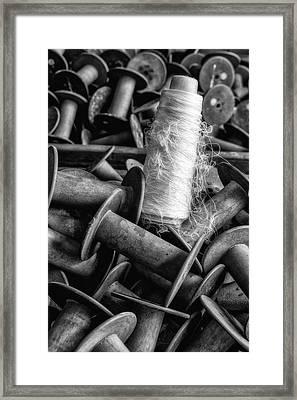 Silk Thread Spools Bw Framed Print by Susan Candelario