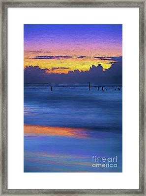 Framed Print featuring the painting Silky Sunrise Reflections Outer Banks Ap by Dan Carmichael