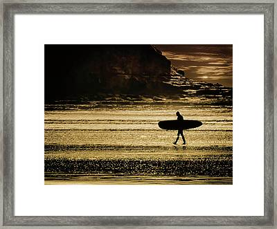 Sillhouette Of Surfer Walking On Rossnowlagh Beach, Ireland  Framed Print