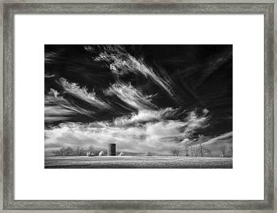 Silo And Clouds Framed Print by James Barber