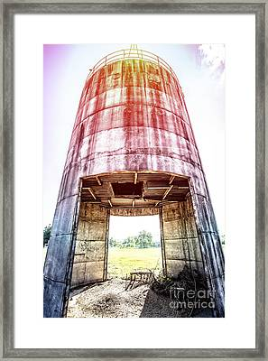 Silo Sunflare Framed Print by Edward Fielding