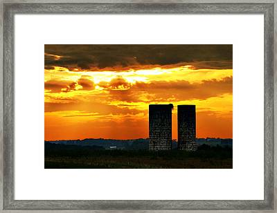 Silos At Sunset Framed Print
