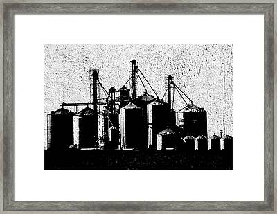 Silos Central Il Textured Bw Framed Print by Thomas Woolworth