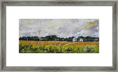 Framed Print featuring the painting Silos by Debora Cardaci