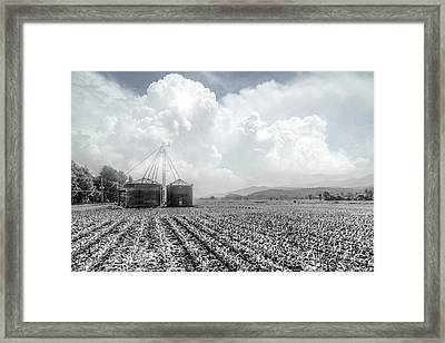 Silos In Black And White Framed Print