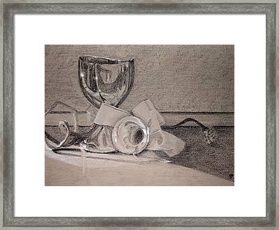 Silver And Glass Still Life Framed Print by Rebecca Tacosa Gray