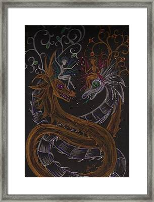 Framed Print featuring the drawing Silver And Gold by Dawn Fairies