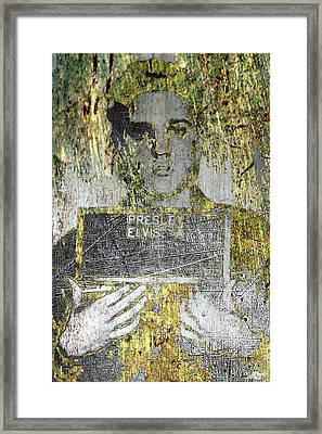 Silver And Gold Elvis Presley Mug Shot Framed Print