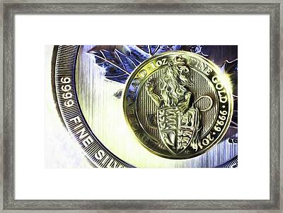 Framed Print featuring the digital art Silver And Gold by JC Findley