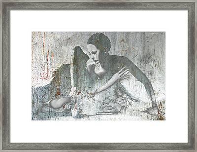 Silver Ballet Dancer Sitting  Framed Print by Tony Rubino