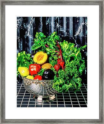 Silver Bowl Full Of Vegetables Framed Print