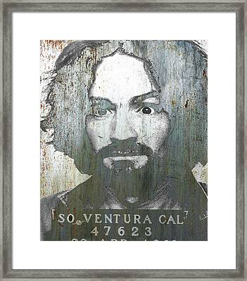 Silver Charles Manson Mug Shot 1969 Vertical  Framed Print