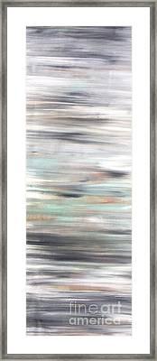 Silver Coast #25 Silver Teal Landscape Original Fine Art Acrylic On Canvas Framed Print