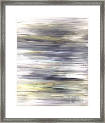 Silver Coast #26 Silver Teal Landscape Original Fine Art Acrylic On Canvas Framed Print