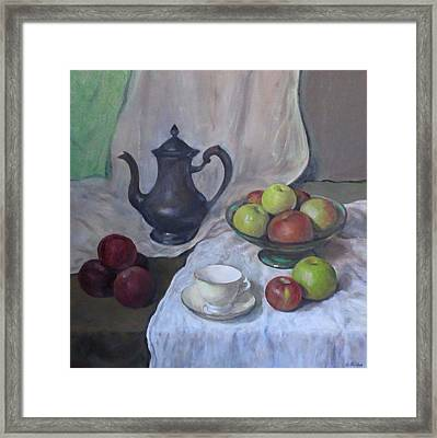 Silver Coffeepot, Apples, Green Footed Bowl, Teacup, Saucer Framed Print