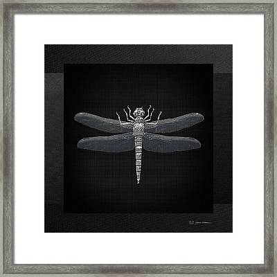 Framed Print featuring the digital art Silver Dragonfly On Black Canvas by Serge Averbukh