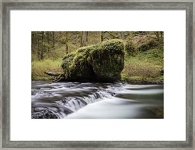 Silver Falls Rock And Rapids  Framed Print