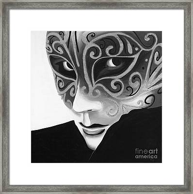 Silver Flair Mask - Bw Framed Print by Patty Vicknair