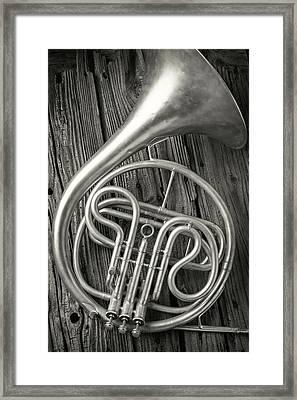Silver French Horn Framed Print