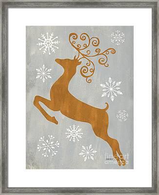Silver Gold Reindeer Framed Print