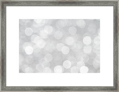 Silver Grey Bokeh Abstract Framed Print