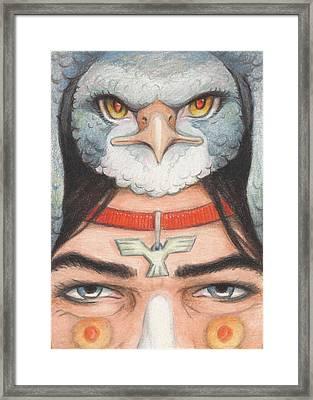 Silver Hawk Warrior Framed Print by Amy S Turner