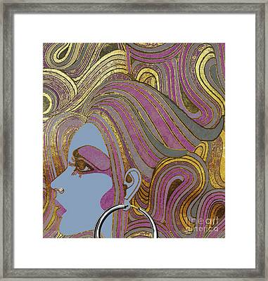 Silver Hoop Retro Fashion Girl Framed Print by Mindy Sommers