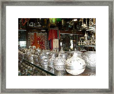 Silver In The Arabian Souq Framed Print by Sunaina Serna Ahluwalia