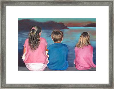 Silver Island Sunset Framed Print by Fiona Jack