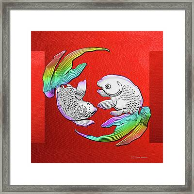 Silver Japanese Koi Goldfish Over Red Canvas Framed Print