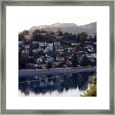 Silver Lake Reservoir And Hollywood Hills Framed Print
