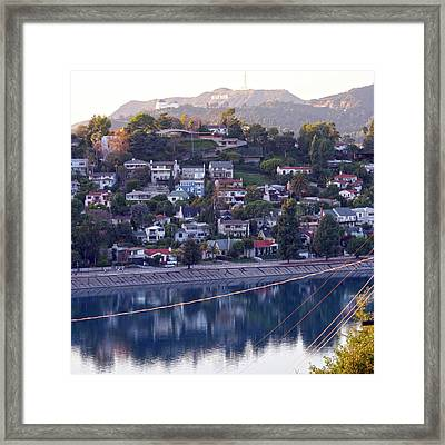 Silver Lake Reservoir With Griffith Observatory And Hollywood Sign Framed Print