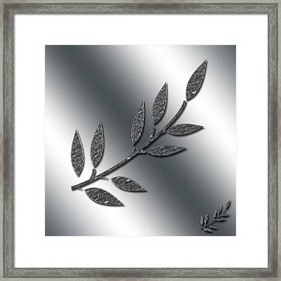 Silver Leaves Abstract Framed Print