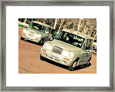Silver London Taxi Cabs Framed Print